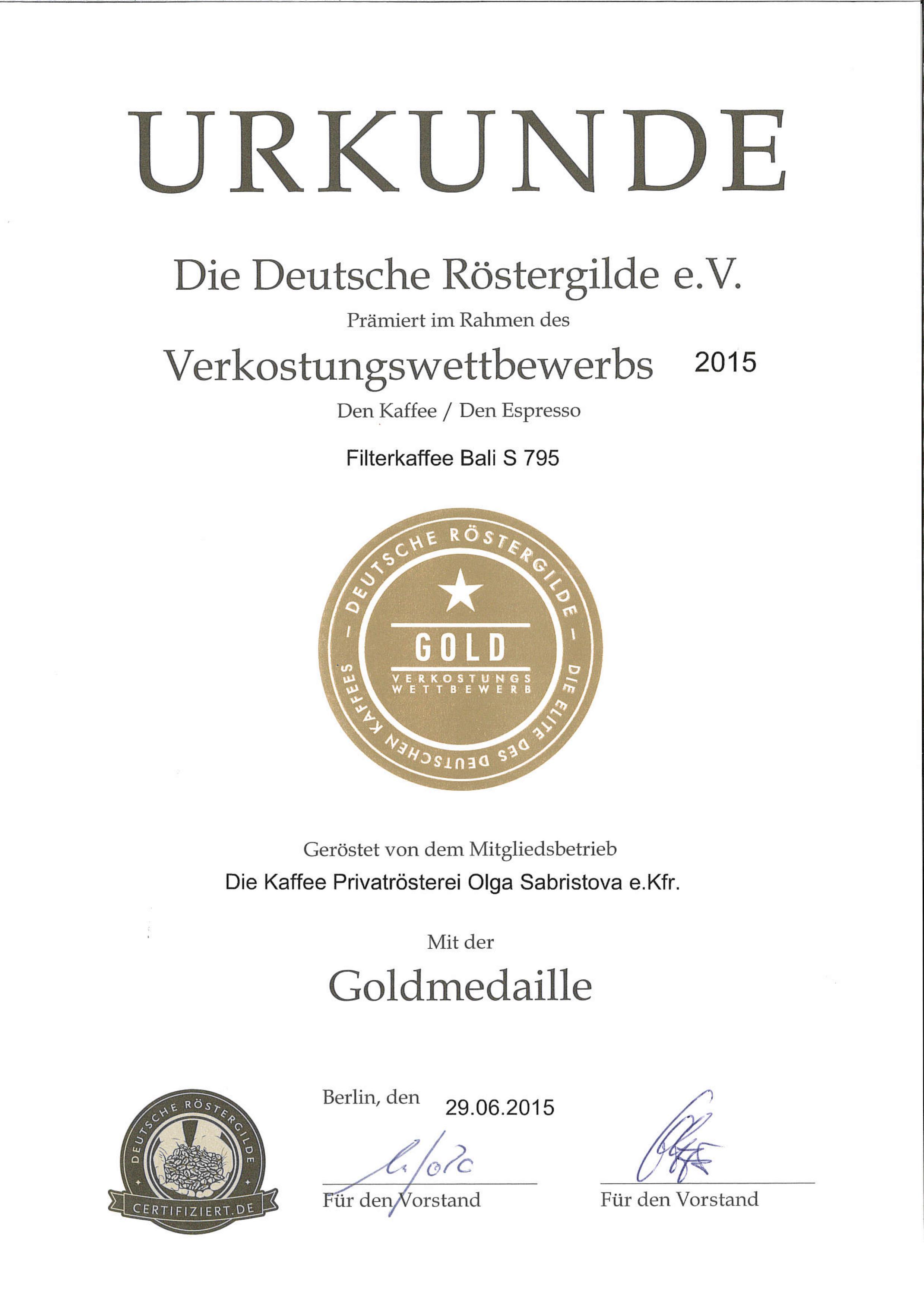 Urkunde Röstergilde Gold Bali 2015