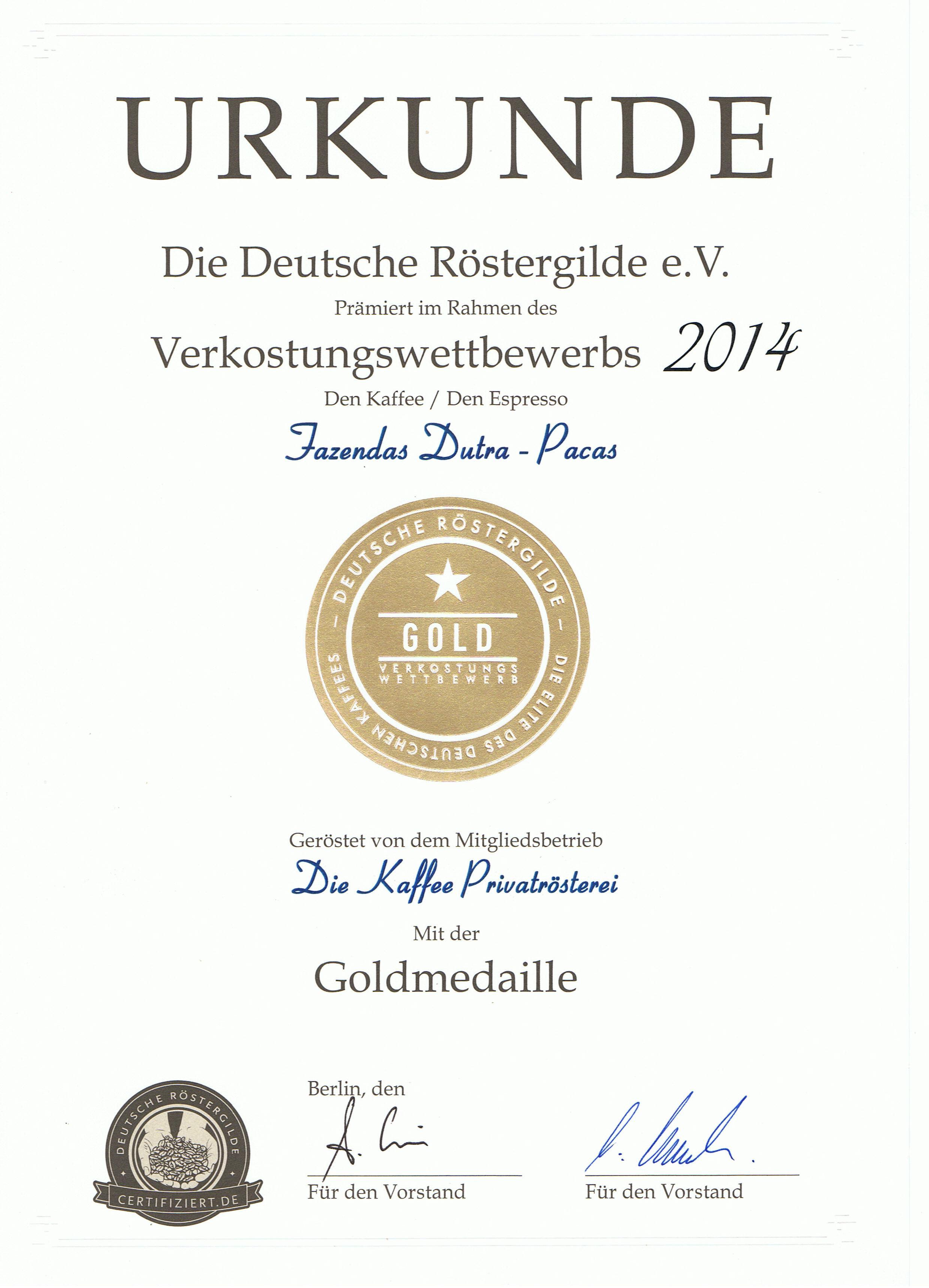 Goldmedaille für Dutra Pacas beim Verkostungswettbewerb 2014