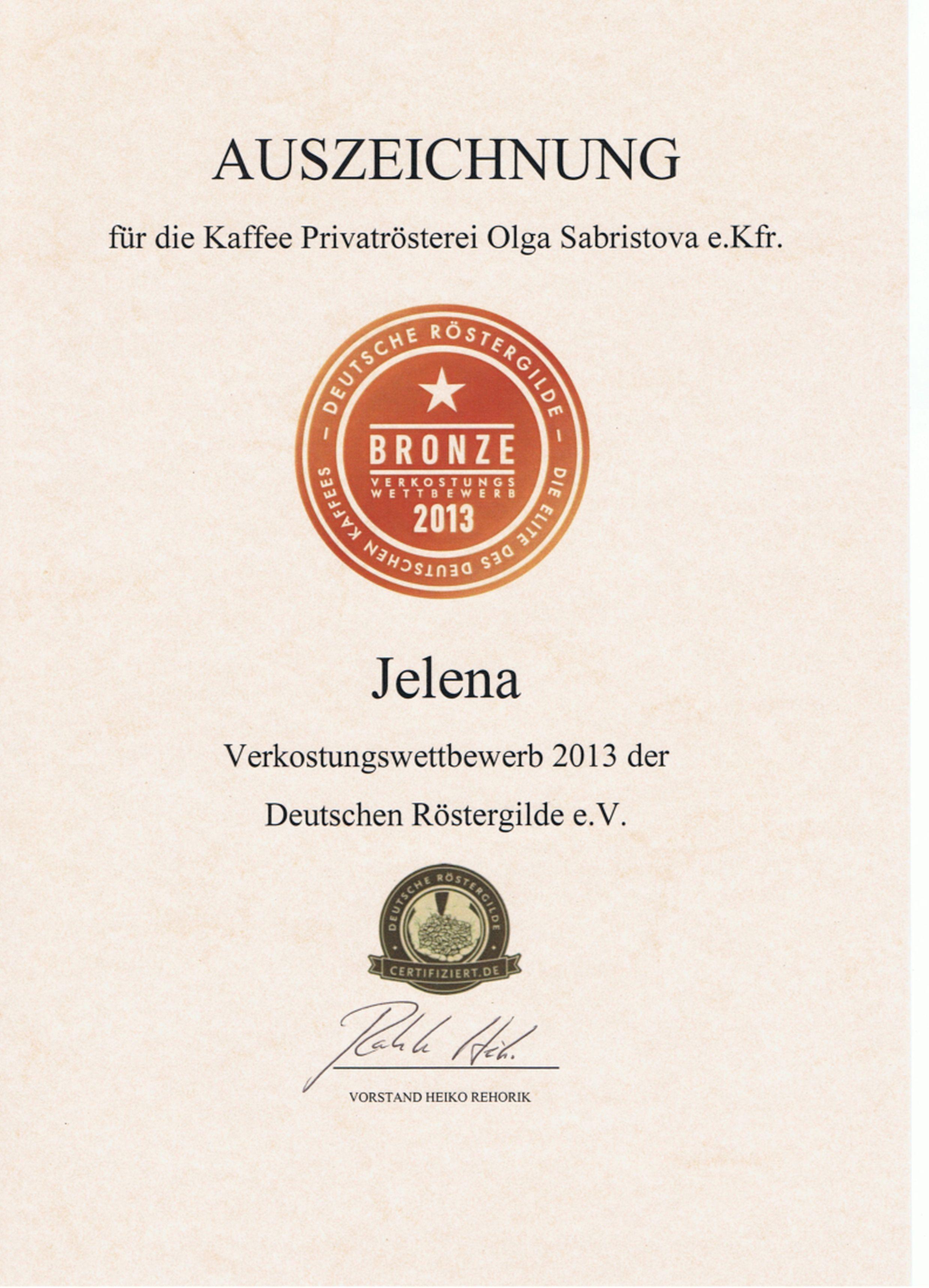 Bronzemedaille für Espresso Jelena beim Verkostungswettbewerb 2013