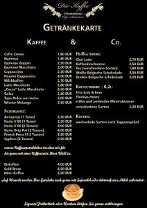 Die Kaffee - Getränkekarte
